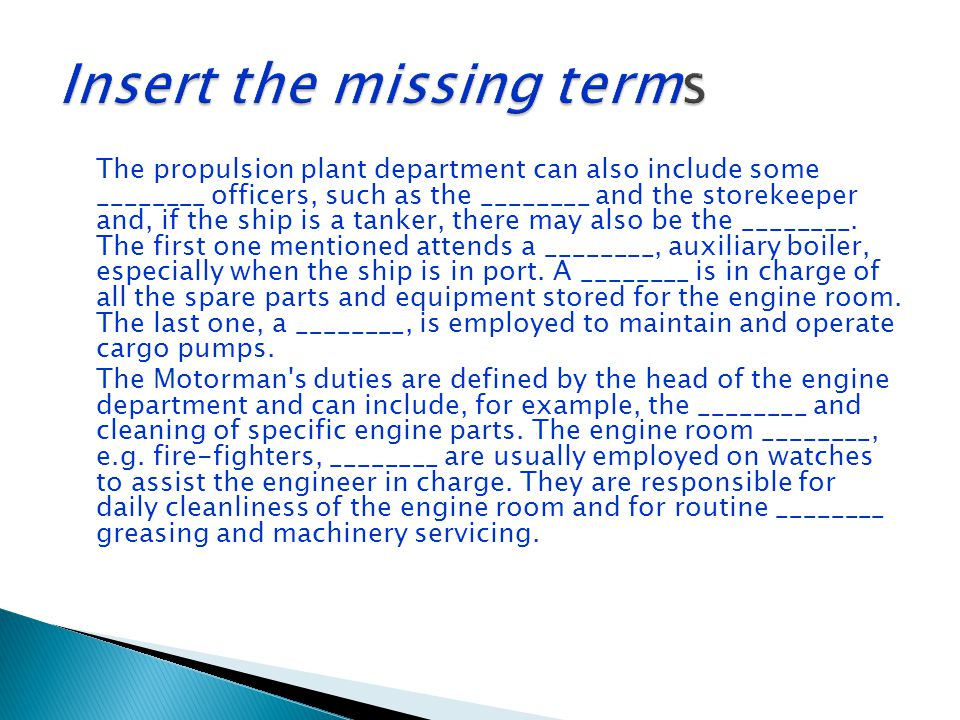 Insert the missing terms
