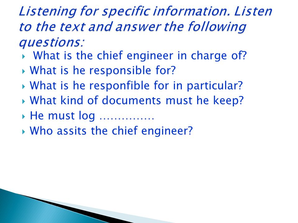 Listening for specific information