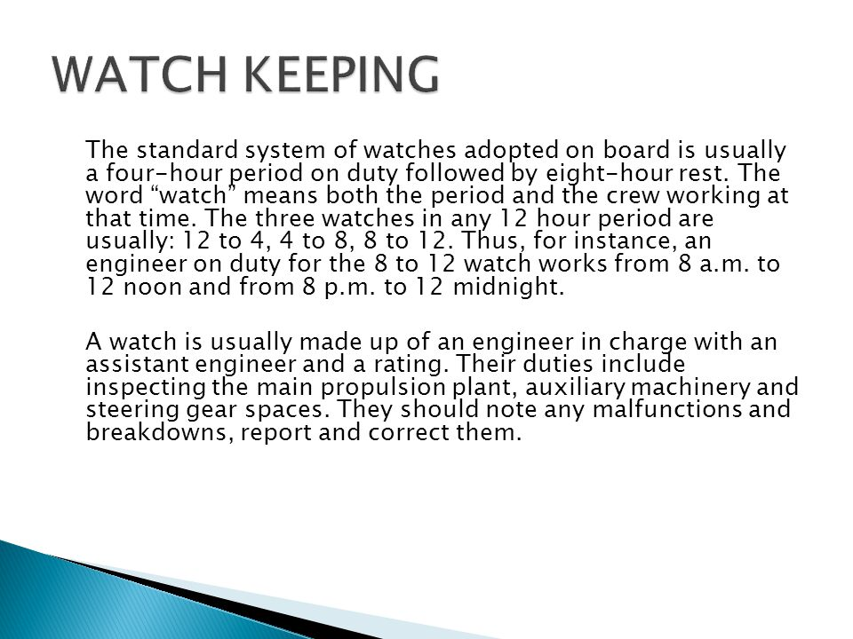 WATCH KEEPING