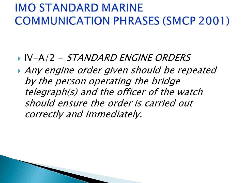IMO STANDARD MARINE COMMUNICATION PHRASES (SMCP 2001)