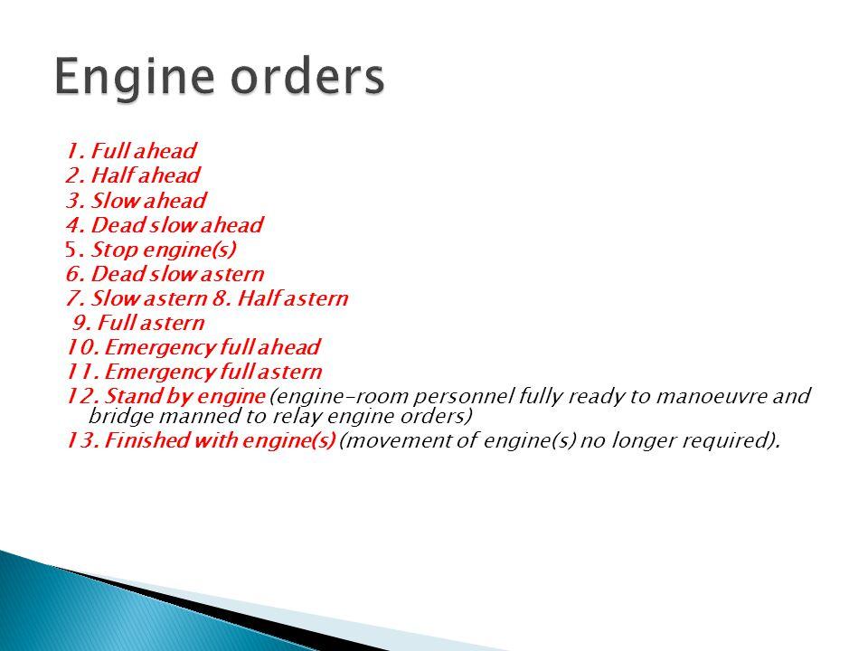 Engine orders 1. Full ahead 2. Half ahead 3. Slow ahead