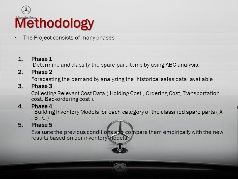Methodology The Project consists of many phases