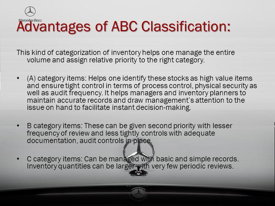 Advantages of ABC Classification: