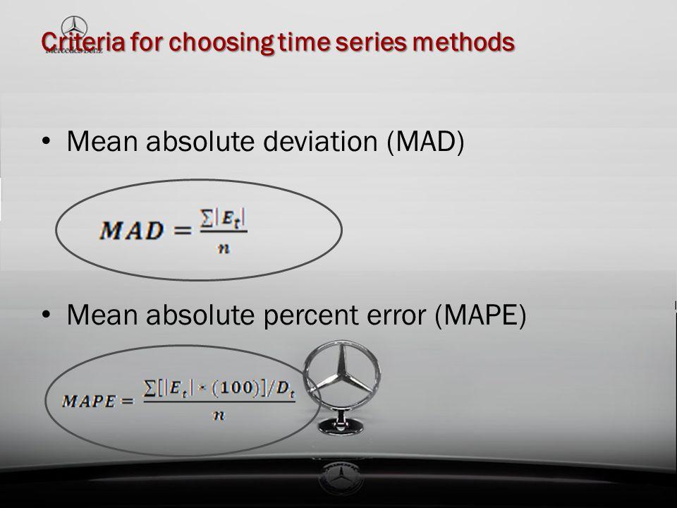 Criteria for choosing time series methods