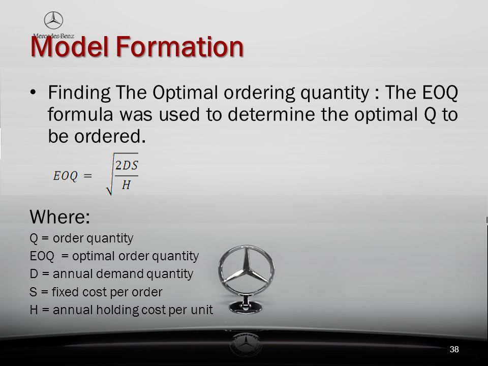 Model Formation Finding The Optimal ordering quantity : The EOQ formula was used to determine the optimal Q to be ordered.