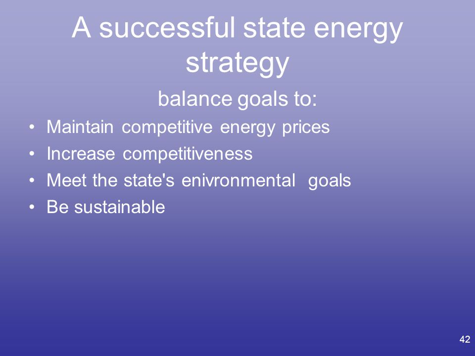 A successful state energy strategy