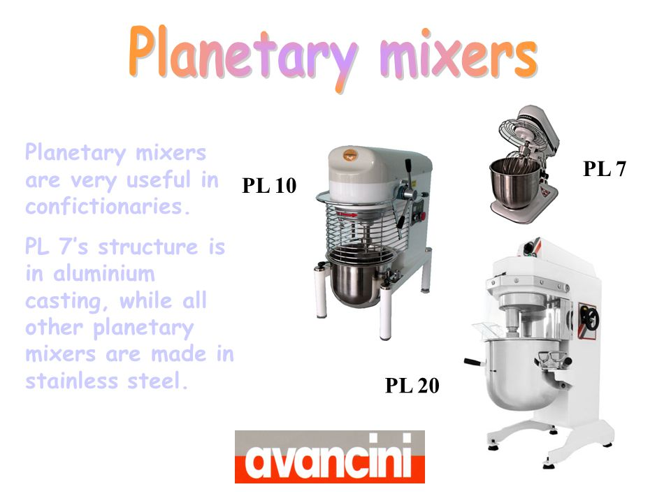 Planetary mixers Planetary mixers are very useful in confictionaries.