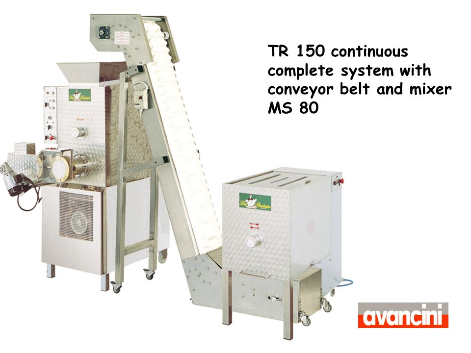 TR 150 continuous complete system with conveyor belt and mixer MS 80