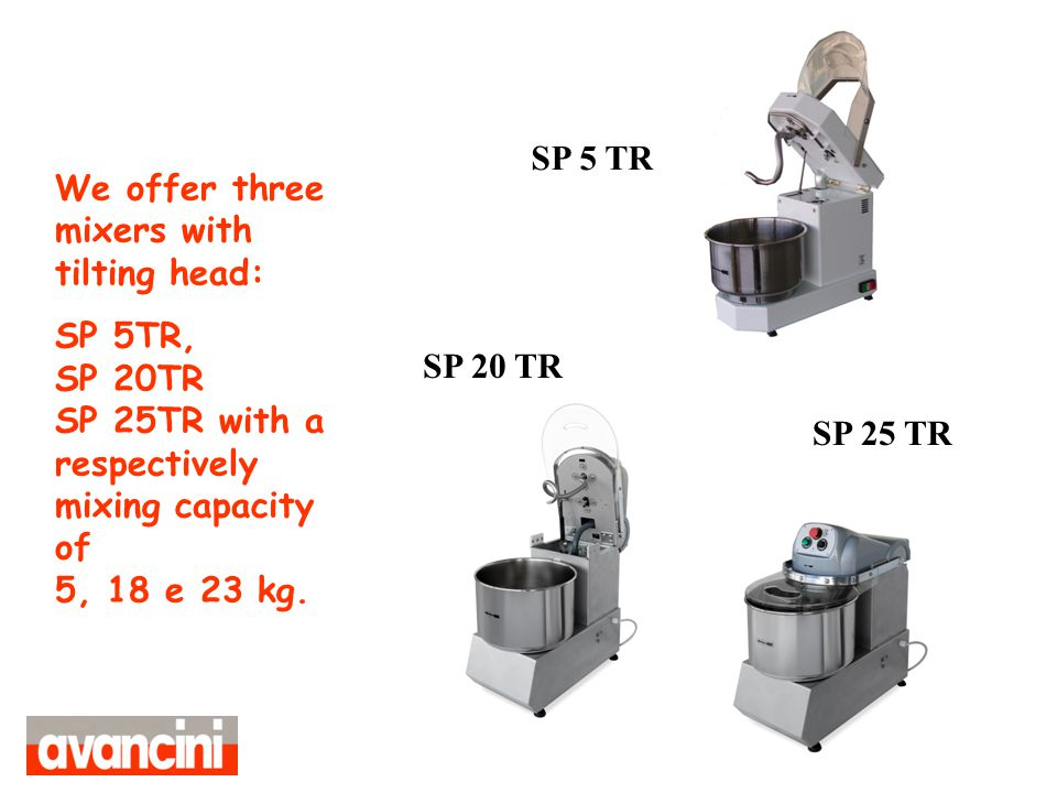 We offer three mixers with tilting head: