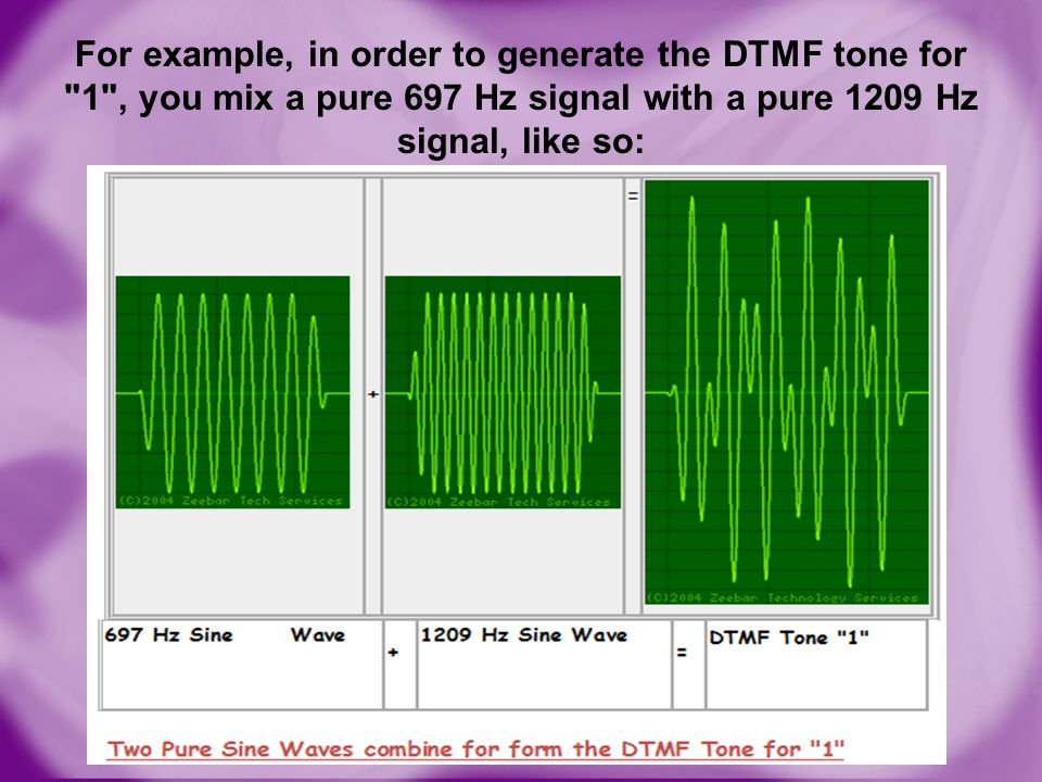 For example, in order to generate the DTMF tone for 1 , you mix a pure 697 Hz signal with a pure 1209 Hz signal, like so: