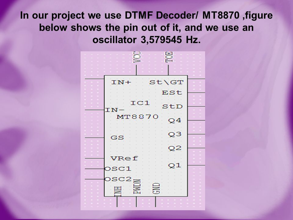 In our project we use DTMF Decoder/ MT8870 ,figure below shows the pin out of it, and we use an oscillator 3,579545 Hz.