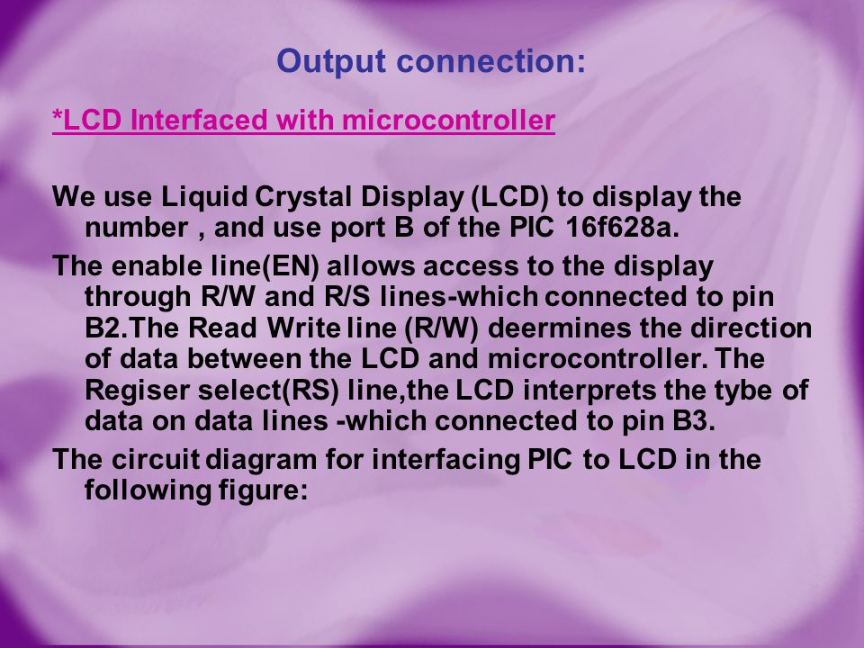 Output connection:
