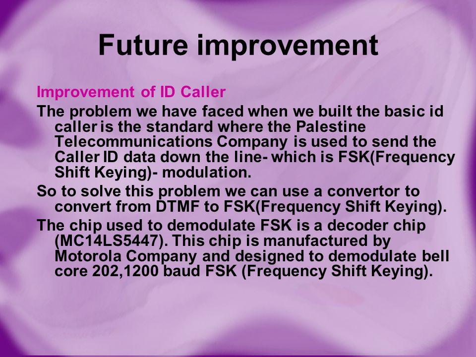 Future improvement