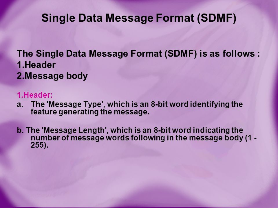 Single Data Message Format (SDMF)