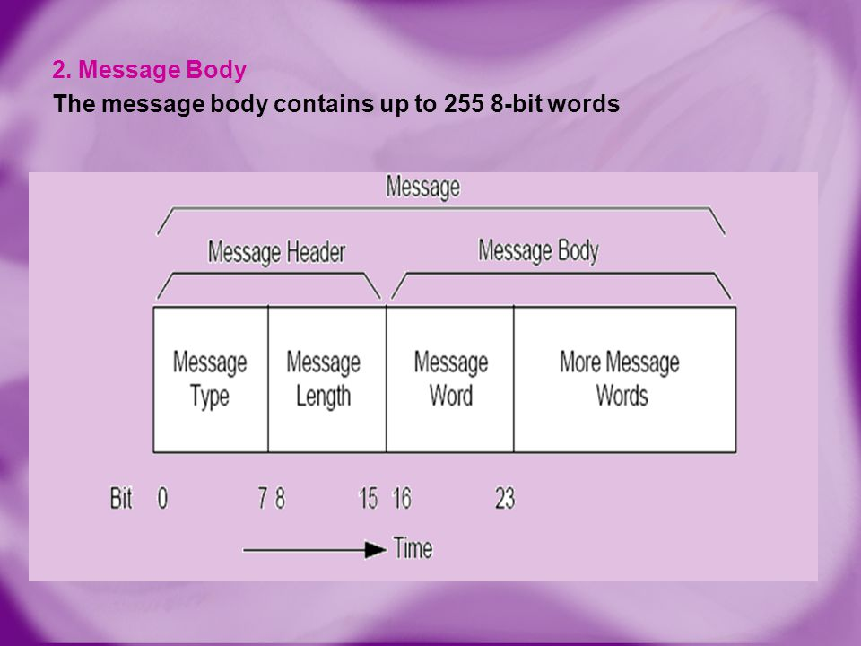 2. Message Body The message body contains up to 255 8-bit words