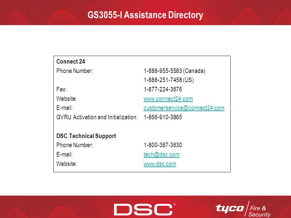 GS3055-I Assistance Directory
