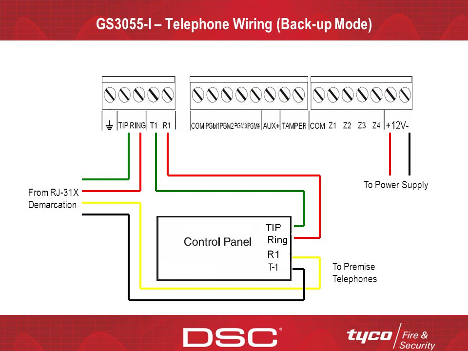 GS3055-I – Telephone Wiring (Back-up Mode)