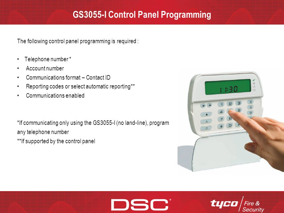 GS3055-I Control Panel Programming