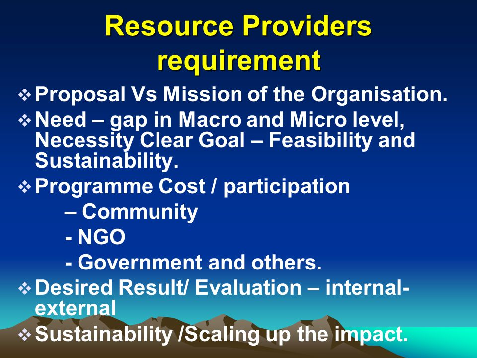 Resource Providers requirement