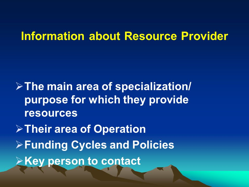 Information about Resource Provider