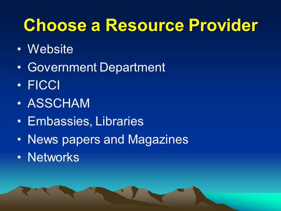 Choose a Resource Provider