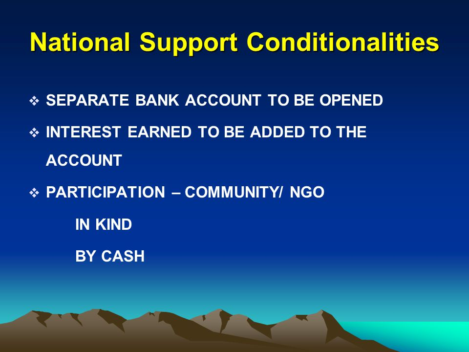 National Support Conditionalities