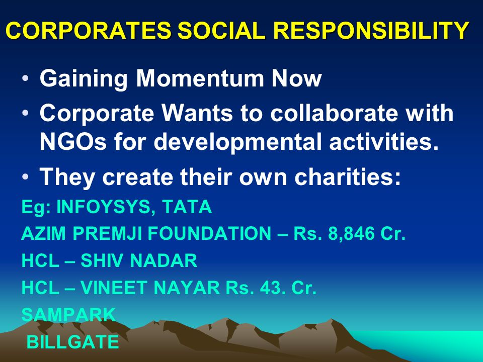 CORPORATES SOCIAL RESPONSIBILITY