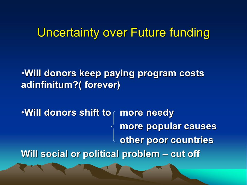 Uncertainty over Future funding