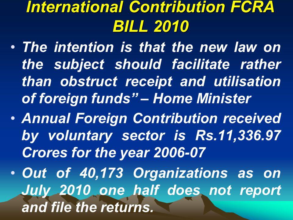 International Contribution FCRA BILL 2010