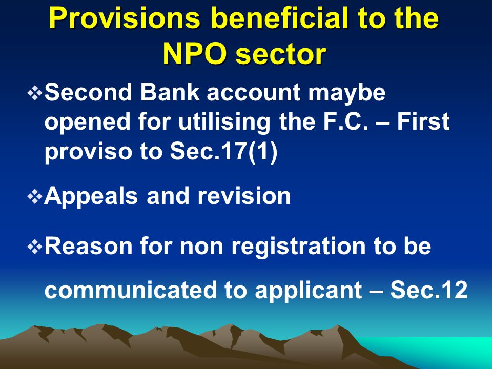 Provisions beneficial to the NPO sector