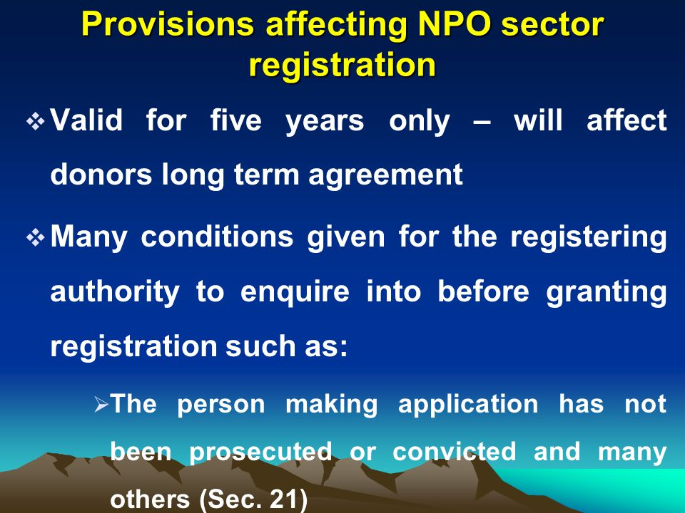 Provisions affecting NPO sector registration
