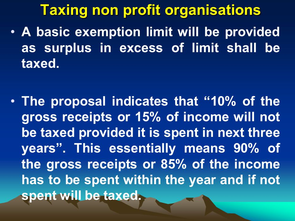 Taxing non profit organisations