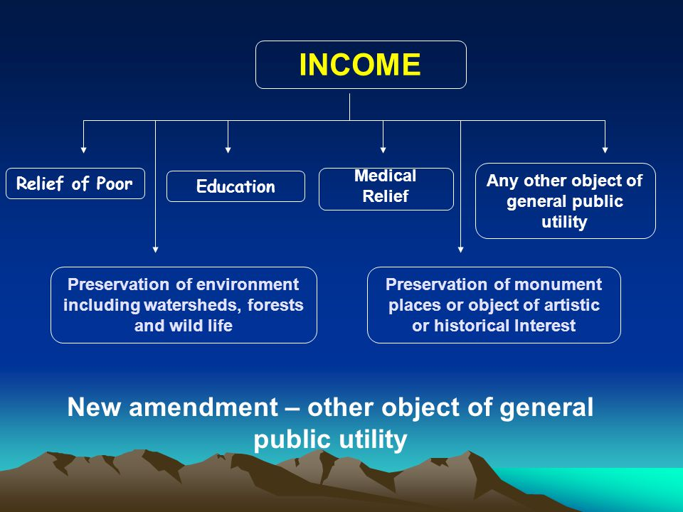 INCOME New amendment – other object of general public utility