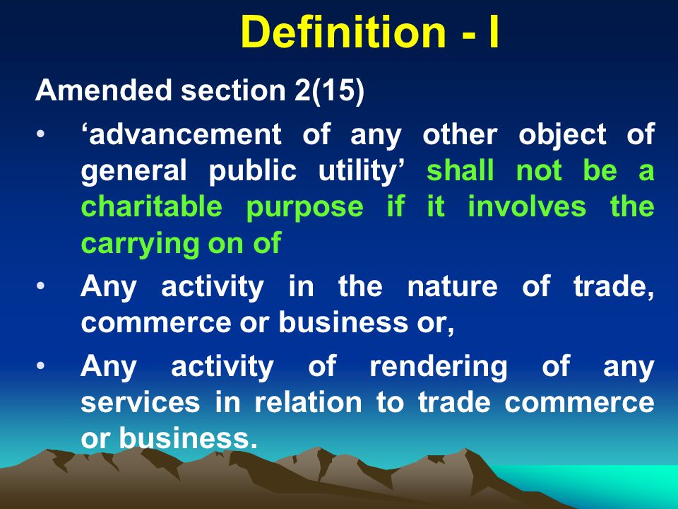 Definition - I Amended section 2(15)