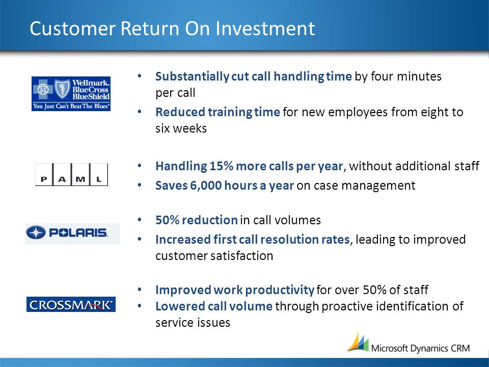 Customer Return On Investment