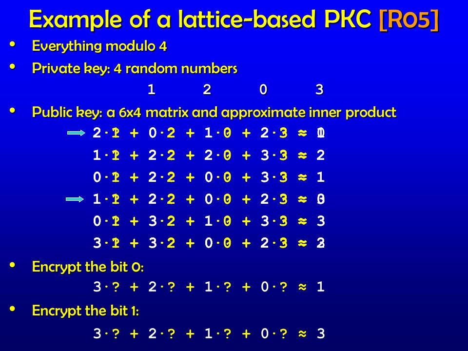 Example of a lattice-based PKC [R05]