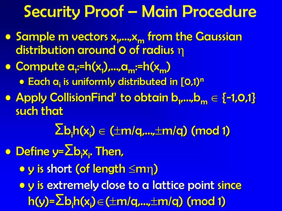 Security Proof – Main Procedure