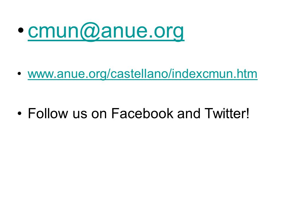 cmun@anue.org Follow us on Facebook and Twitter!