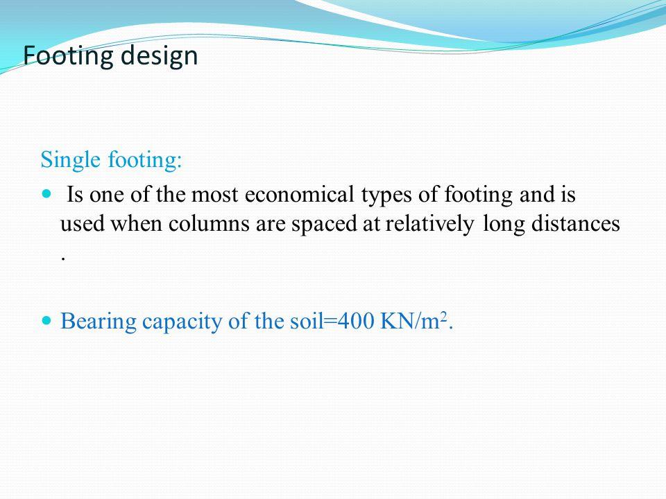 Footing design Single footing:
