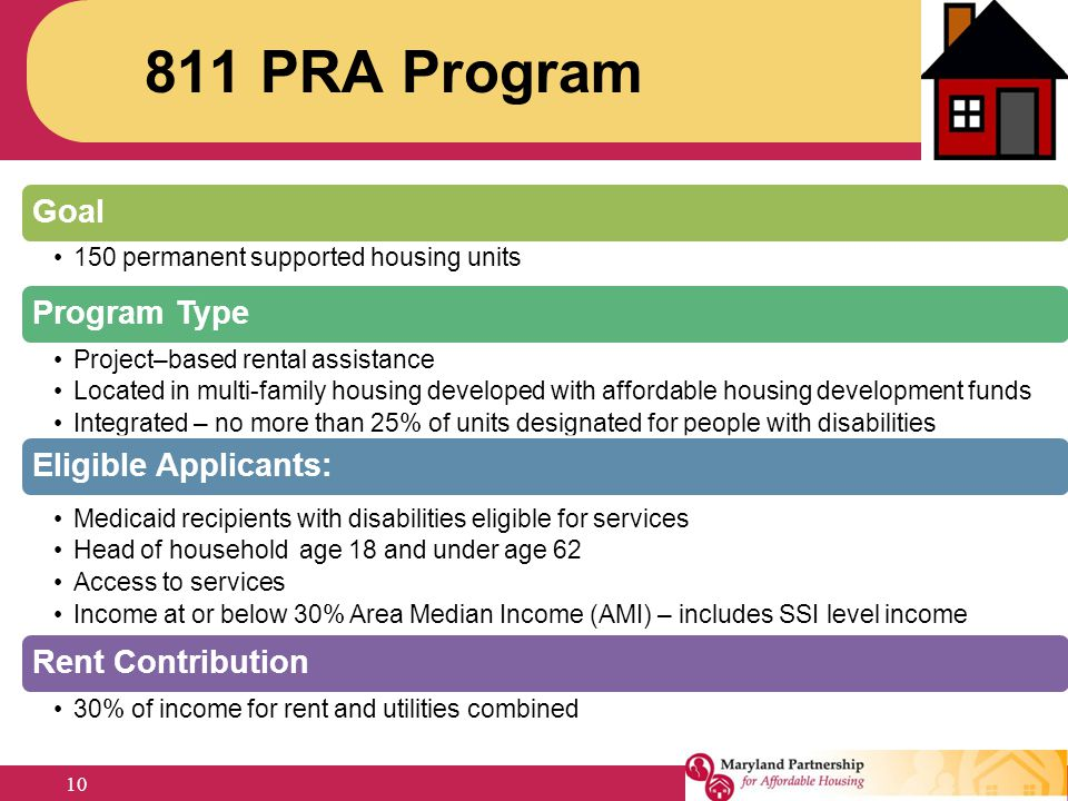 811 PRA Program Goal. 150 permanent supported housing units. Program Type. Project–based rental assistance.