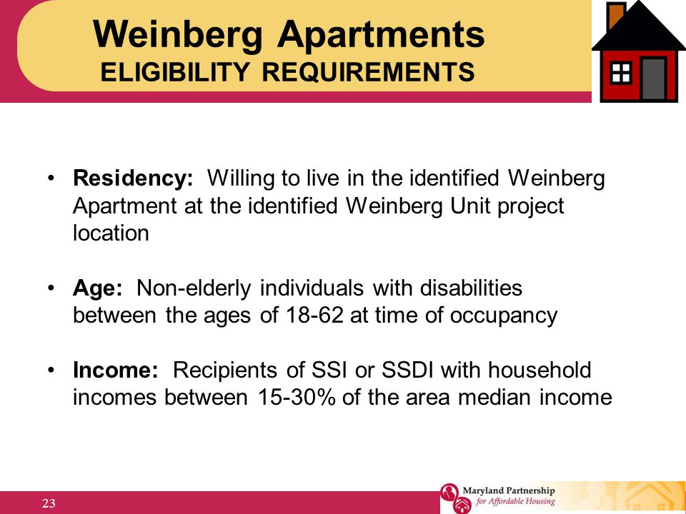 Weinberg Apartments ELIGIBILITY REQUIREMENTS