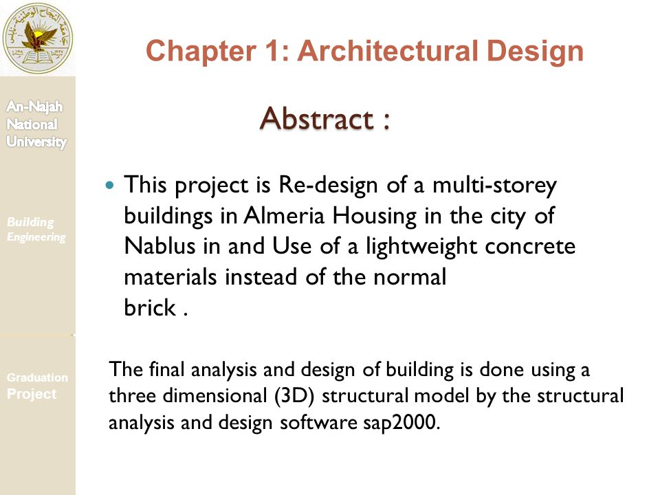 Abstract : Chapter 1: Architectural Design