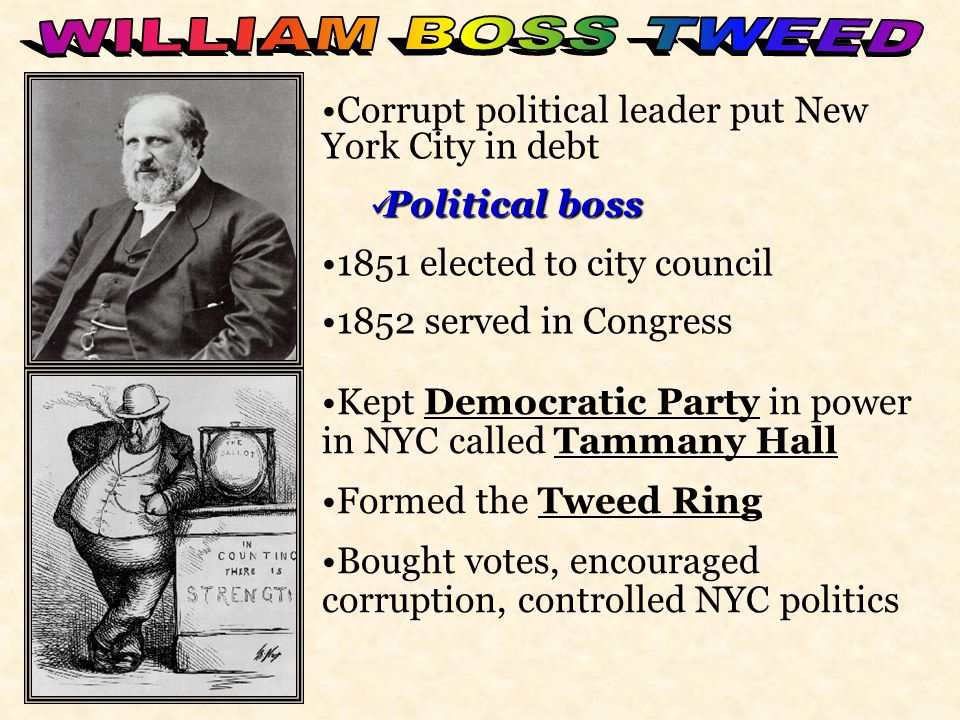 WILLIAM BOSS TWEED Corrupt political leader put New York City in debt