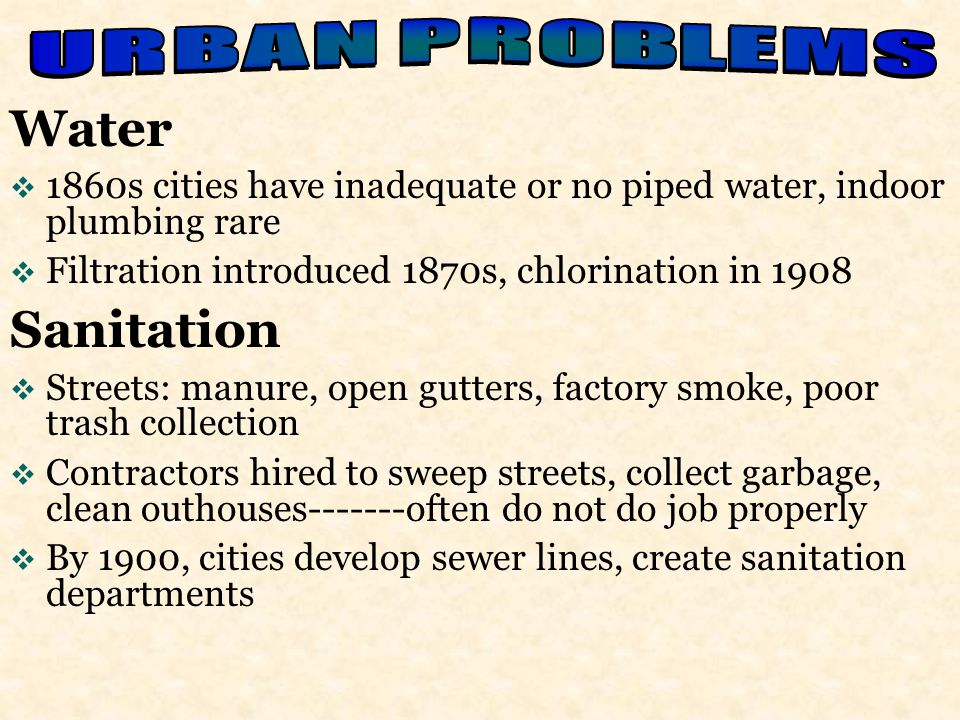 Water Sanitation URBAN PROBLEMS