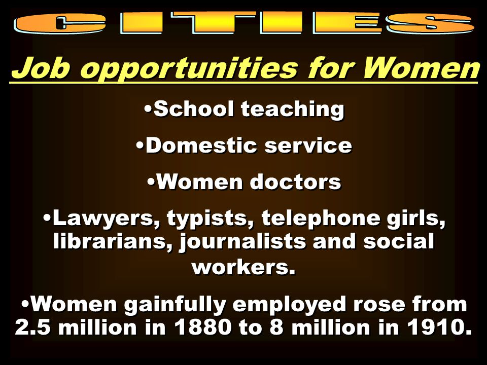 Job opportunities for Women