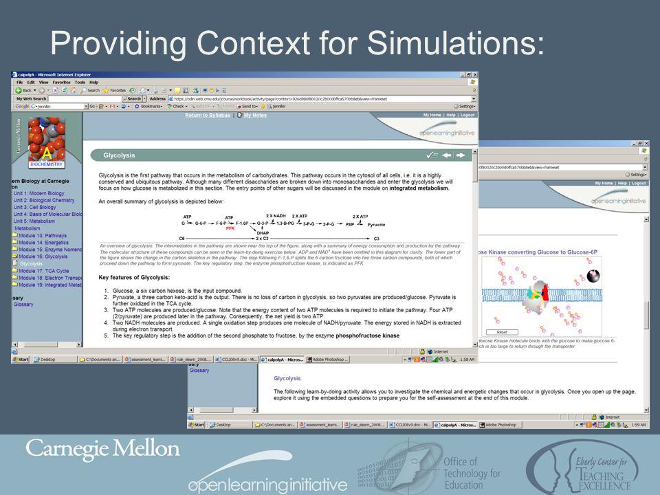 Providing Context for Simulations: