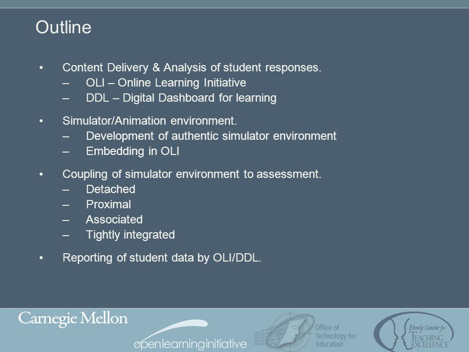 Outline Content Delivery & Analysis of student responses.