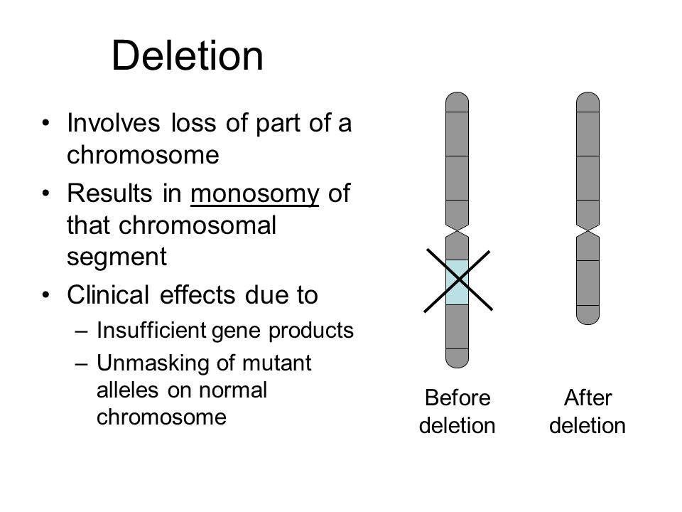 Deletion Involves loss of part of a chromosome