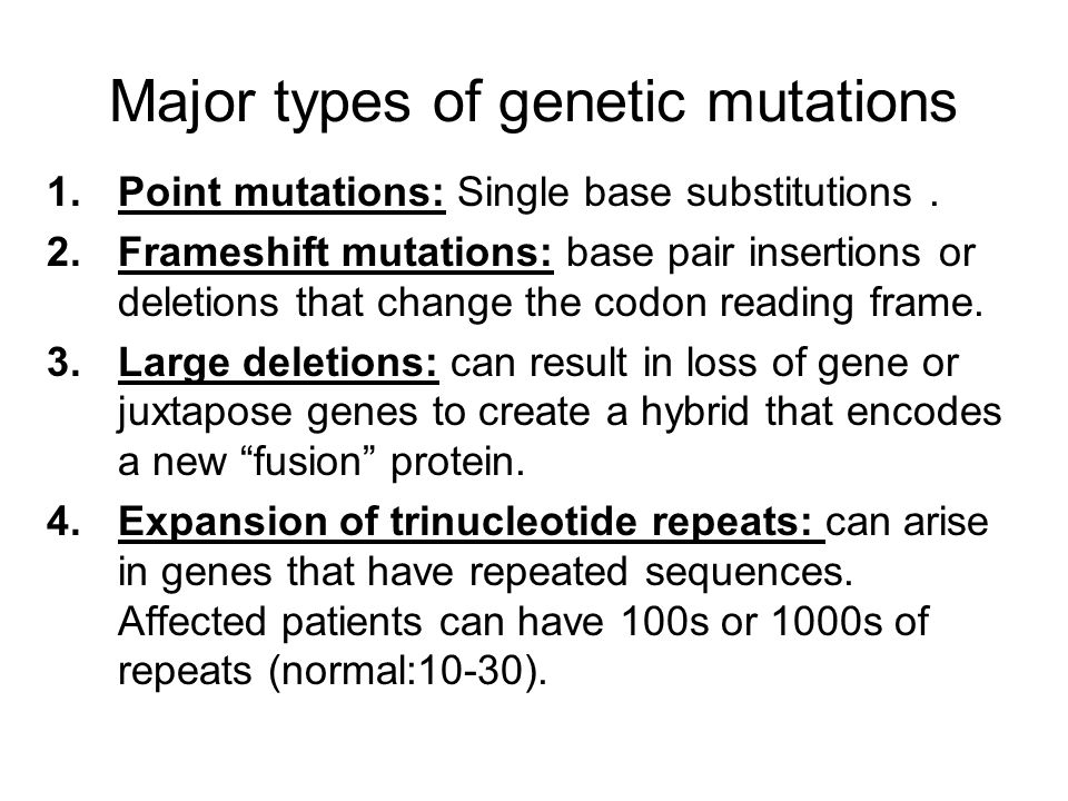Major types of genetic mutations