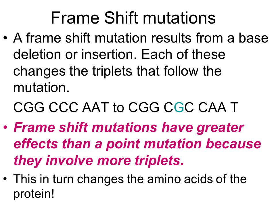 Frame Shift mutations A frame shift mutation results from a base deletion or insertion. Each of these changes the triplets that follow the mutation.